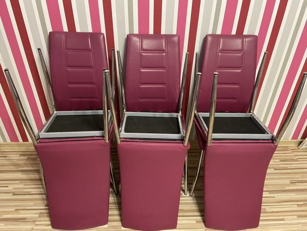 6 krzeseł imitacja skóry, kolor fuksja