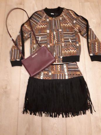 Komplet w etniczny wzór kurtka i spódnica, rozmiar 36
