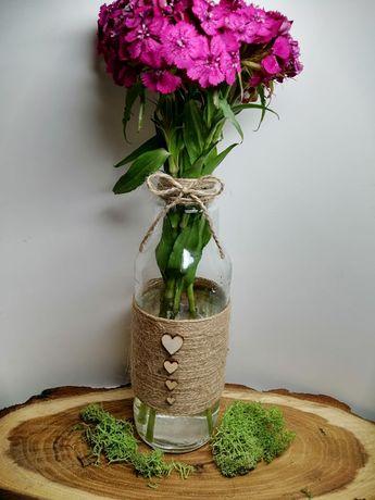 Dekoracja ślubna wazony na kwiaty wesele rustykalne sznurek jutowy
