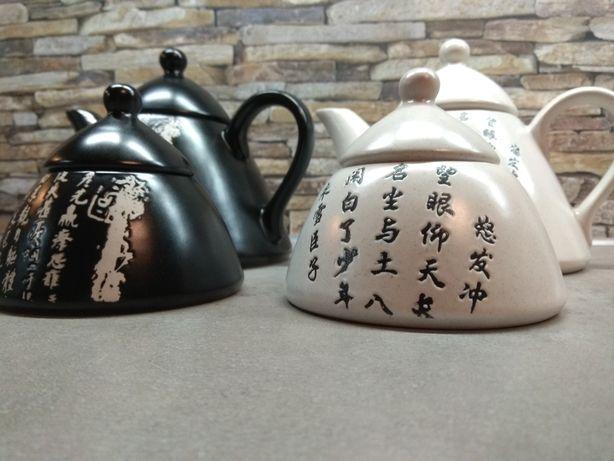 Dzbanek do parzenia herbaty i cukiernica w chiński wzór