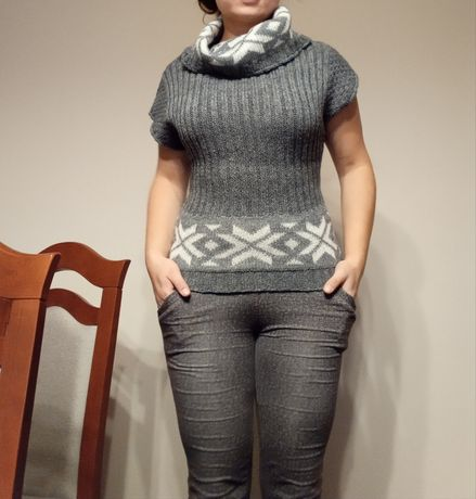 Sweter szary krótki rękaw