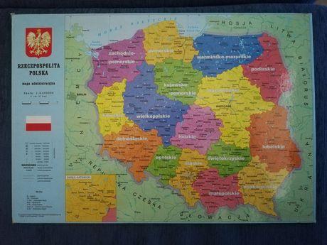 Mapa Polski twarda podkładka