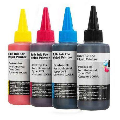 Kit de recarga de tintas para tinteiros de impressoras - 4 x 100ml