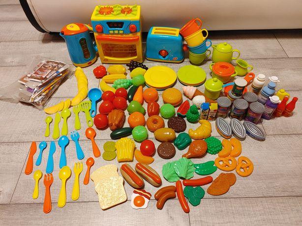 Zestaw kuchenny ogromny zabawkowa kuchnia owoce warzywa