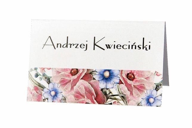 Winietki na stół weselny - FLOWERS nr 07-12 – komplet 6 szt