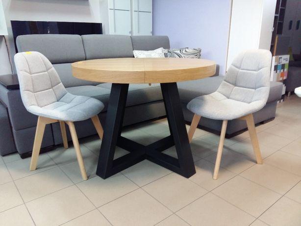 Stół okrągły loftowy dębowy LOFT-2M, krzesła, industrialny noga metalo