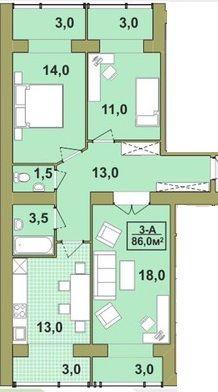 Готова,3-кіматна квартира в центрі, 86м.кв.,