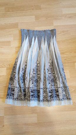 Spódnica midi z wysokim stanem na gumce haftowana