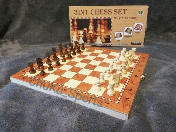 Шахматы Нарды Шашки 3 в 1 8801 8802 8801А Деревянные Дерево
