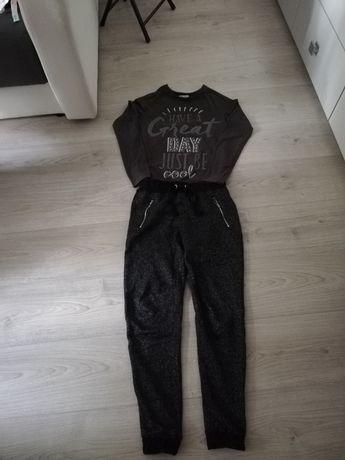 Dziewczęce spodnie dresowe i bluzka rozm. 146 cm