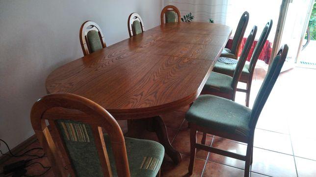 Stół drewniany salonowy na 12 osób +8 krzeseł
