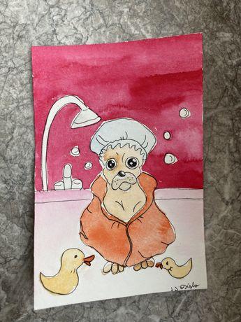 Kartka okolicznościowa mops mopsik pug pies kaczka dack