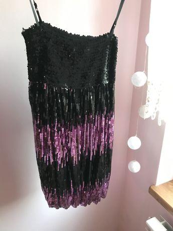 Cekinowa sukienka czarno-fioletowa