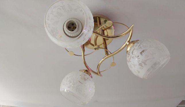 Люстра три плафона цвет золото для гостиной