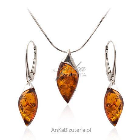 ankabizuteria.pl Komplet biżuteria srebrna z bursztynem