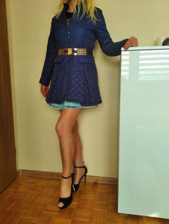 EKSKLUZYWNY płaszczyk damski rozszerzany pikowany GRANAT L GRATIS WYSY