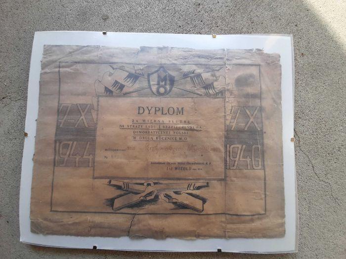Mo milicja 1946 dyplom od KGMO RP ps. Witold Szczecin - image 1