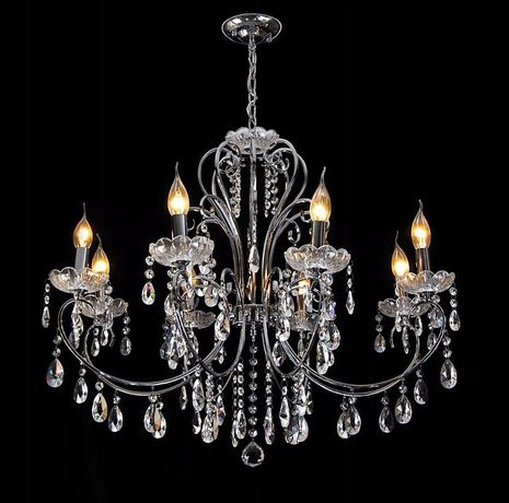 Żyrandol kryształowy kryształy szklany 8 żarówek LED