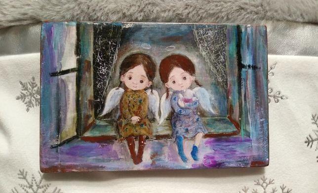 Piękny obrazek! Handmade, decoupage, aniołki. Na Prezent! Dzień babci.