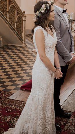 Suknia ślubna - koronka, rustykalna, boho