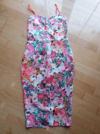 Sukienka w kolorowe kwiaty Style plus 12
