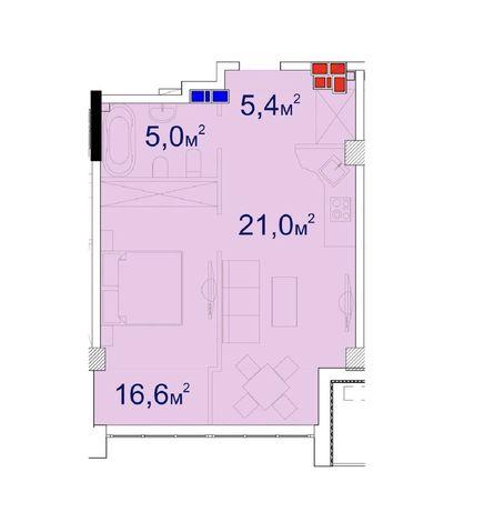 Единственная планировка в Башне Чкалов 52м2 YES