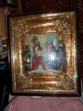 большая старинная икона Святая троица