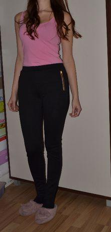 Czarne legginsy S M 36 38 elastyczne tom rose