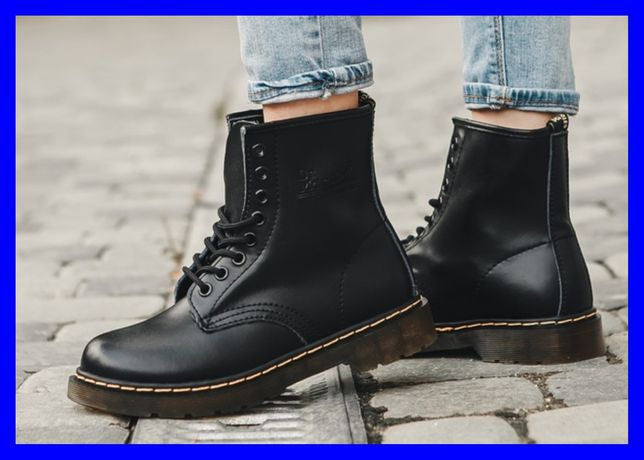 Натур Кожа! Женские ботинки Dr. Martens 1461 Black. Др. Мартинс черные