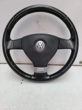 VW VOLKSWAGEN GOLF V / 5 GT / PASSAT B6 / EOS / CADDY | VOLANTE ORIGINAL EM PELE GENUINA E AIRBAG;