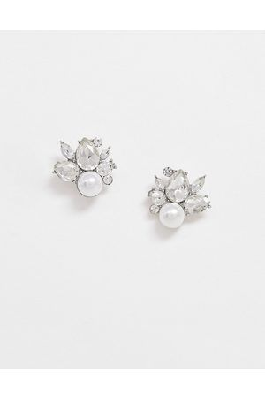 TRUE DECANDENCE kolczyki srebrne kryształy perły wkręty na ślub