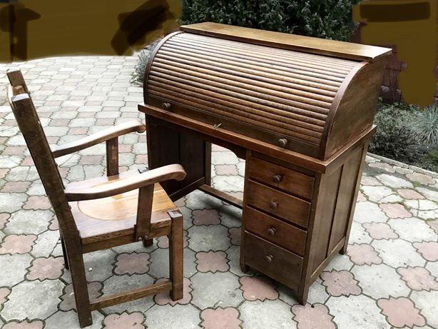 Стол письменный, бюро, секретер, сферическая панель + стул, Голландия