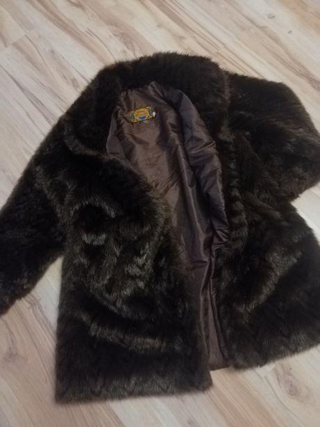 Sztuczne futerko kurtka stylowa futrzak płaszcz brąz czerń ciemne s m