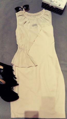 Beżowa sukienka wizytowa Xs