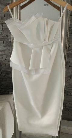 Biała ecru sukienka ciążowa