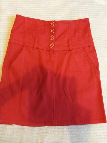 Spódnica czerwona sportowa jeans