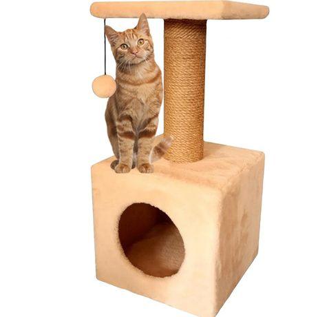 Когтеточка для котов (дряпка) с домиком. Лежанка для кошки. ZE-13396