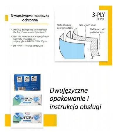 Maseczki ochronne 3 warstwowe medyczne certyfikowane polska produkcja