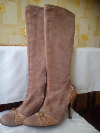 Сапоги р. 36, замша, осень, пр-во Итал, цв. темно-дымчатый розовый