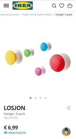 NOVOS! IKEA LOSJON 5 cabides de colar coloridos