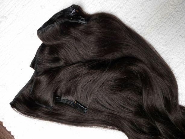 Zestaw włosów remy hair gęste ciemny brąz clip in naturalne