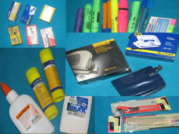 Канцтовары офисные бумага,скрепки скобы маркеры, биндеры, файлы, папк