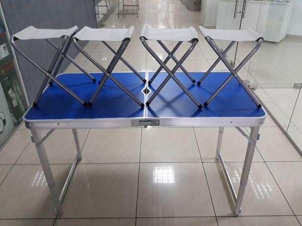 Стол УСИЛЕННЫЙ КВАДРАТНЫЕ НОЖКИ + 4 стула для пикника, отдыха