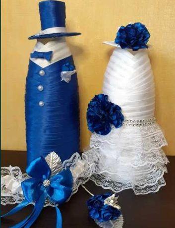 Dekoracje na butelki ślubne