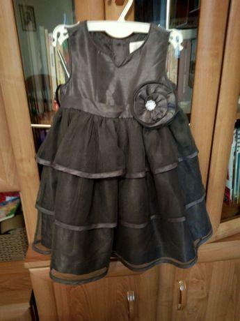 Piękna, srebrna sukienka dla dziewczynki 1,5 roku - 2 lata