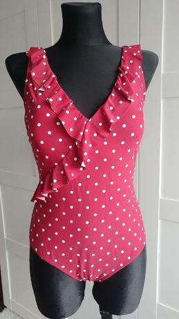 Kostium strój kąpielowy jednoczęściowy, czerwony w kropki M-L, TK MAXX