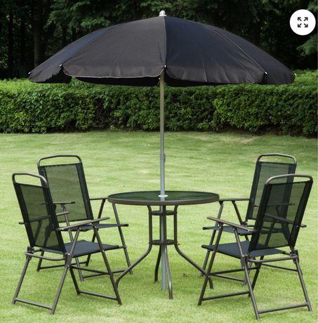 Conjunto 4 cadeiras + mesa + guarda sol