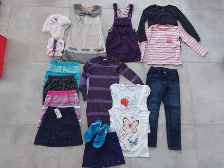 Zestaw ubrań, r.122-128, spodnie, bluzka, sukienka, jak nowe