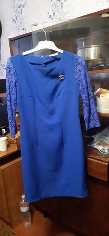 Женское синяе платье