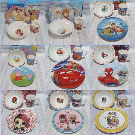 Детские наборы посуды из керамики.С супер героями.